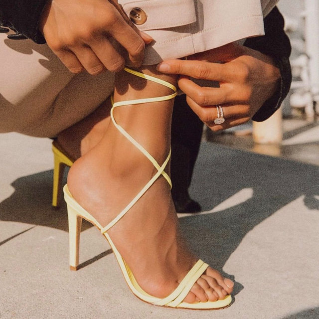 all tied  up - @naila in the Alex Heel. #rayeallday