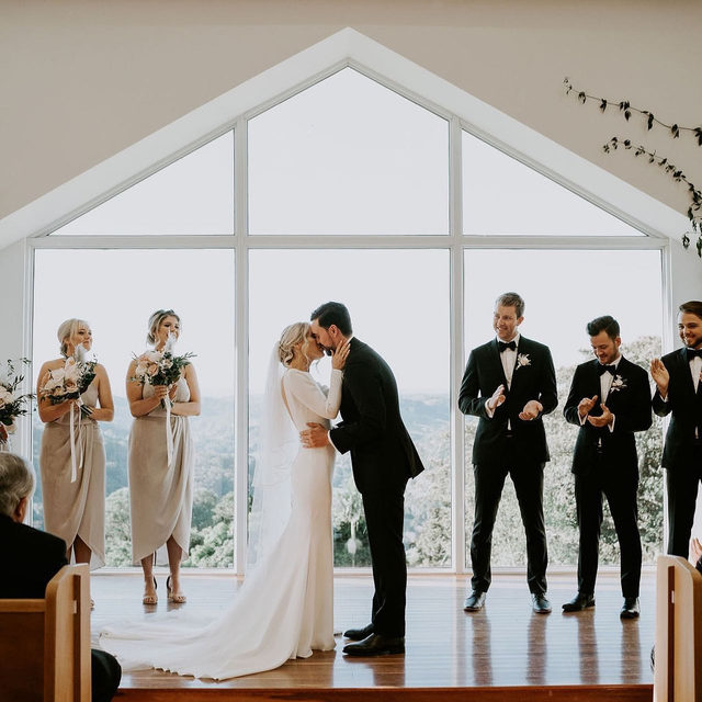 Minimalist elegance: the Ivania dress was the perfect choice for Maddie's wedding. @elsimpsonphotography Find your dream dress at your nearest Pronovias!