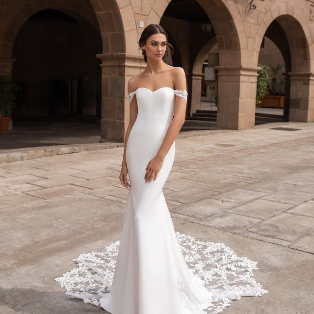 The syrinx dress and its spectacular, eye-catching train are so hard to resist! #Pronovias2020 Try it on at your nearest store.