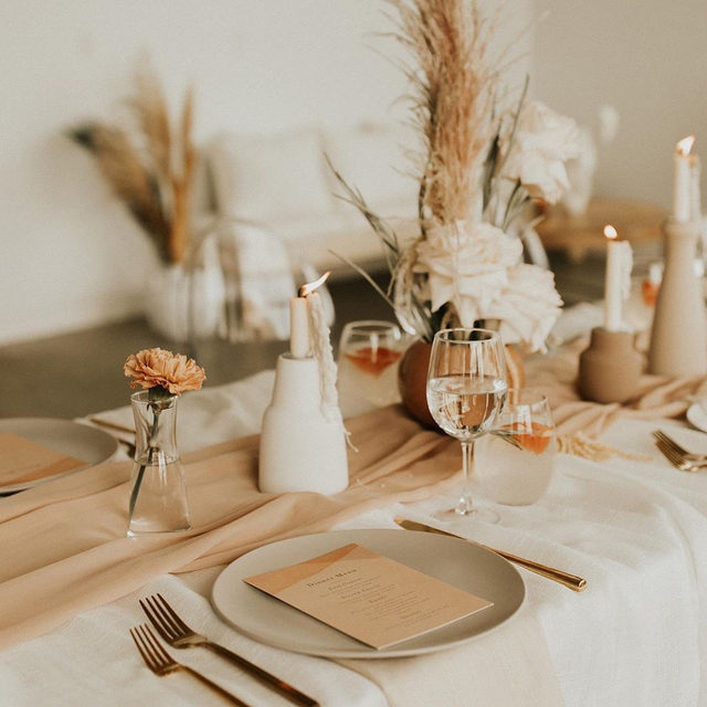 "Dinner table of our dreams. 😍🍂 ""Desert Wash"" menu design by @amykross. #MintedWeddings — Planner @_indieandivory 