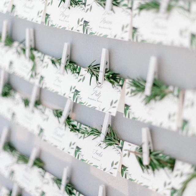 "#MintedWeddingsTip from #MintedWeddingPlanner @the_styled_soiree: ""Personal details are the best! Rosemary had special significance to the groom's mother, so we added a sprig to each escort card on a custom display."" 🌿 ""Vines of Green"" place card design @susanmoyal. #MintedWeddings — Photo @saralynnphoto • • • • • #engaged #weddingideas #weddinginspiration #weddingdetails #weddingphotography #weddingplanning #weddingflatlay #justengaged #thatsdarling #pursuepretty #theknot #sayido #howtheyasked #marthaweddings #placecards #escortcards #weddingreception #fallwedding #winterwedding #destinationwedding #design #style #art #diy #wedding"