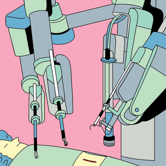 "When Pier Giu­lianotti observed operations as a medical student, he thought, ""Surely there is a more artistic way to interact with the human body."" Then, he discovered robot-assisted surgery. In the past 20 years, he has performed roughly 3,000 procedures with the aid of a multi-armed, one-and-a-half-­million-dollar device named the da Vinci. But despite the enthusiasm of Giu­lianotti and other practitioners, many members of the American surgical community remain skeptical. At the link in our bio, read about the potentially revolutionary procedure, and why it has failed to catch on in the medical establishment. Illustration by @elenaxausa."