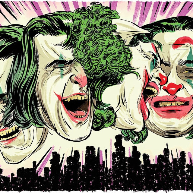 "The new ""Joker"" movie, starring Joaquin Phoenix, has trailed clouds of controversy. How does the film measure up to all the pre-launch discussion? Tap the link in our bio to read Anthony Lane's review. Illustration by @zoharlazar."