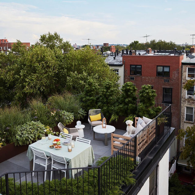 When you see the potential of a bare deck 🙌 Before-and-after of @runnette and @nathanlump's Brooklyn apartment with landscaping by @elevationsnyc 🌳 Take a tour 👉 link in bio 📸 by @david_a_land ✍️ by @my_shokoko; styled by @elizabeth.maclennan