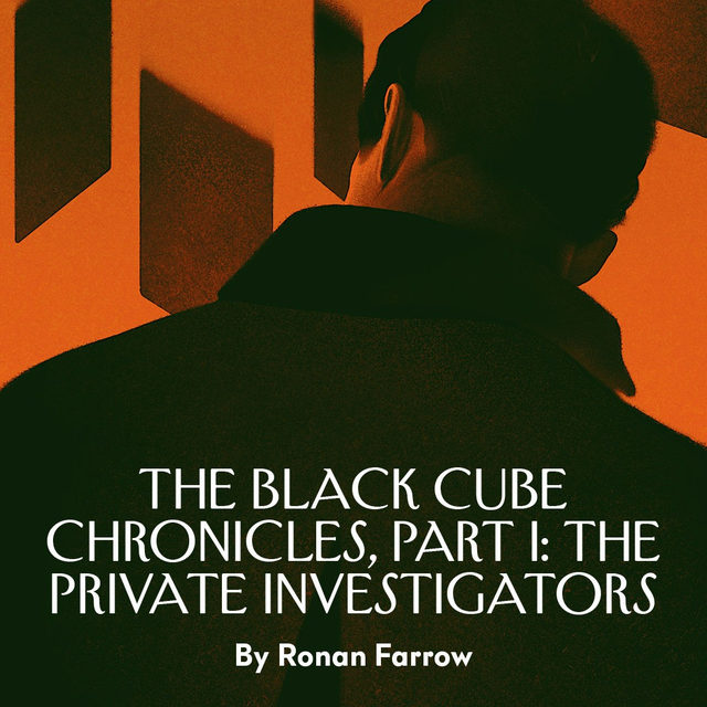 "In 2018, Ronan Farrow met the private investigator Igor Ostrovskiy in the basement of a restaurant. Ostrovskiy slid a phone across the table and motioned for Farrow to swipe through the pictures on it. ""There was my block, my front door, my superintendent,"" Farrow writes. Ostrovskiy, an operative hired to work on an assignment from the Israeli private-intelligence agency Black Cube, had been tasked with tracking Farrow's movements. When the surveillance tactics escalated, Ostrovskiy had misgivings. ""I fear that it may be illegal,"" he told Farrow. At the link in our bio, read the first of three excerpts from Ronan Farrow's new book, on how two operatives became embroiled in an international plot to suppress sexual-assault allegations against Harvey Weinstein. Illustration by @strautniekas."