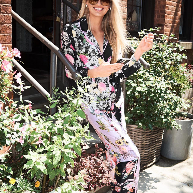Floral satin PJs — perfect for standing out (or blending in, depending on the scenery.)