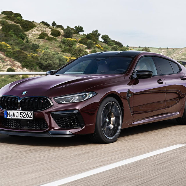 The 2020 BMW M8 Gran Coupe is here, and it comes in this splendid shade of purple. It's called Ametrin Metallic, and it confirms our belief that more cars should be painted purple. Like the two-door coupe, the M8 Gran Coupe's power comes through a 4.4-liter twin-turbo V-8 pumping out 600 hp in the base car, and 617 hp in the Competition model. Despite being 185 pounds heavier, it can still scoot to 60 mph in just 3.1 seconds thanks to an M-tuned eight-speed automatic transmission and standard xDrive. Would you take it over an M5?