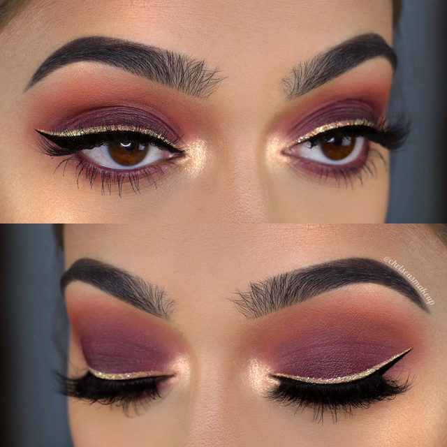 Cranberry tones, glitter and lashes - oh my 😍  @chelseasmakeup completes this look with the Can't Be Tamed style. Get the look from the Fluff'n Glam Collection, exclusively at @Sephora! #VelourLashes #FluffnGlam #GlamGang
