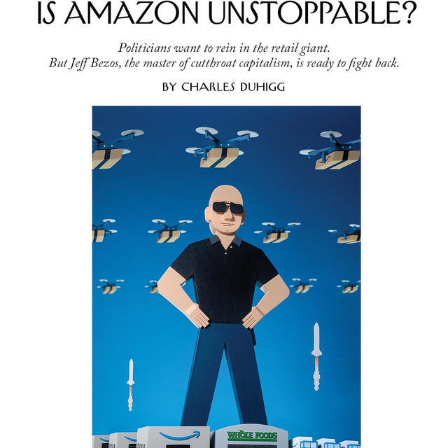 "Amazon's obsession with expansion has made it the corporate equivalent of a colonizer, ruthlessly invading new industries and subjugating some smaller companies. Executives know that politicians and outsiders want Amazon to change, but Jeff Bezos refuses to slow down. ""What has made us great for so long is suddenly being seen as something we ought to be ashamed of!"" one executive said, with barely suppressed resentment. Tap the link in our bio to read Charles Duhigg on Bezos and the Amazon empire. Illustration by @toddstjohn."