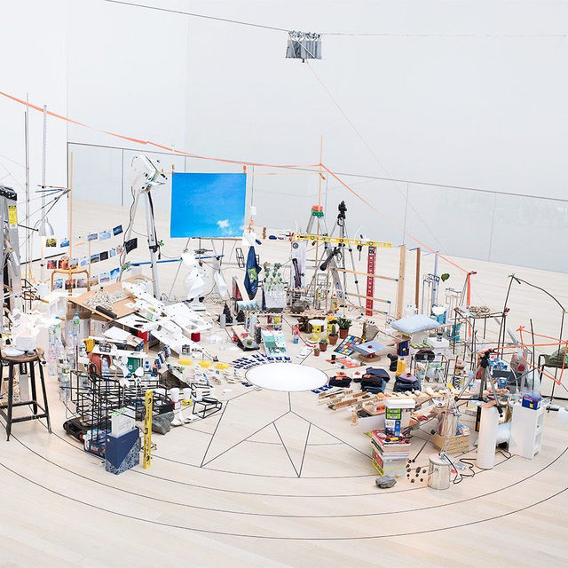 """""""Surrounds,"""" opening soon at MoMA, will present eleven watershed installations by living artists from the past two decades. Sarah Sze's """"Triple Point (Pendulum),"""" which was first exhibited at the 55th Venice Biennale, is one of the featured installations!  The title, """"Triple Point (Pendulum),"""" is borrowed from the term """"the triple point of water,"""" a reference to the state at which water can coexist simultaneously in three forms: steam, ice, and liquid. The swinging pendulum, which defines the boundaries of the work, also seems to threaten its potential destruction. This sense of precariousness is a central theme in Sze's work, as is the tension between wonder and anxiety generated by the profusion of information and objects in contemporary life. __________ #SarahSze #Gagosian@themuseumofmodernart  Installation view with Sarah Sze, """"Triple Point (Pendulum),"""" 2013. Gift of the International Council of The Museum of Modern Art. Agnes Gund, Ronald S. and Jo Carole Lauder, and Sharon Percy Rockefeller. Artwork©"""