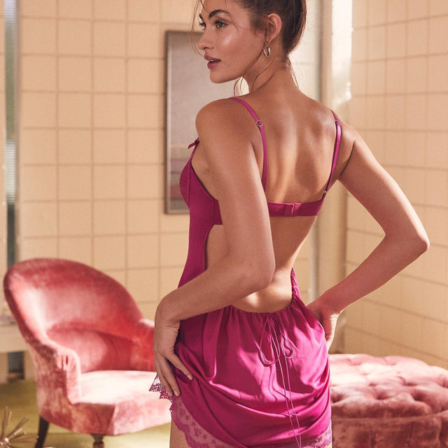 Tickled pink in our new satin slip. (P.s.: it has a built-in panty). #FLLforVS @forloveandlemons