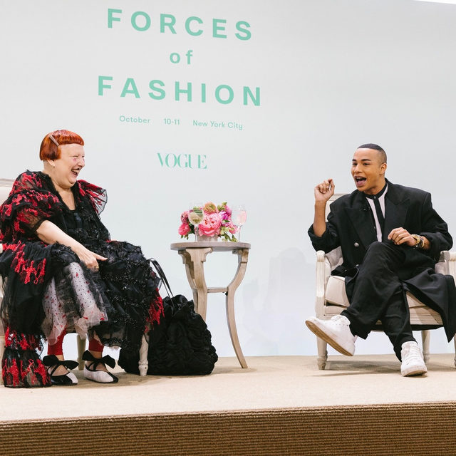 """""""I was 24 years old when I started as creative director at @Balmain,"""" @olivier_rousteing said on the #ForcesofFashion stage, """"and I decided to push for diversity and to remind people that maybe today I'm the only one to be creative director of a luxury French brand, but tomorrow we have to change it to step up and fight against it, just making sure that we can have more colors in fashion."""" Tap the link in our bio for more highlights from Rousteing's talk with Vogue's Lynn Yaeger. Photographed by @coreytenold"""