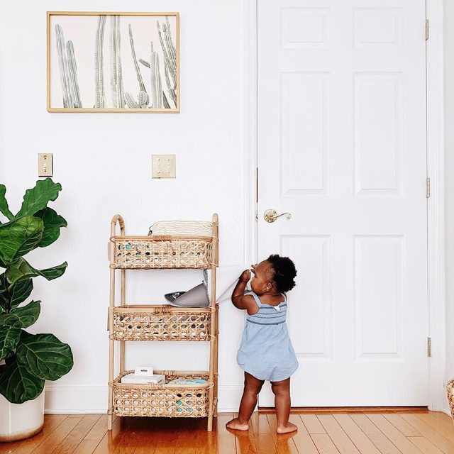 "Mom's (adorable) little helper. 💕 ""Peachy Cactus Print"" #MintedArt @wildercalifornia. Photo @loree.1."