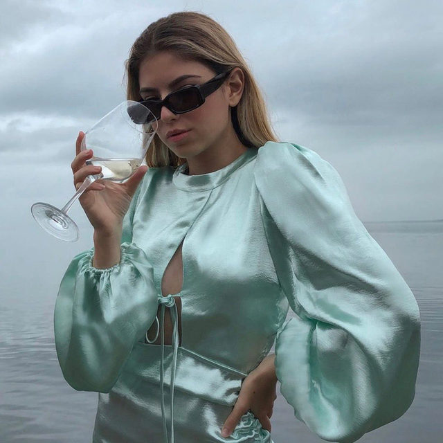 Cloudy with a chance of soft, silky, icy satin. @vaalvillena in the Lennox Metallic Dress #GIRLSinLOVE
