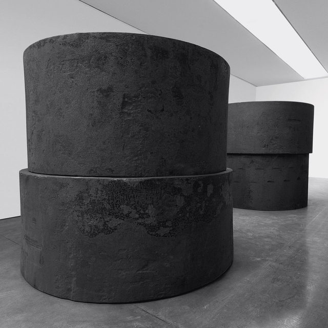 """#RichardSerra: Hal Foster and Julian Rose will lead a tour of two exhibitions by Richard Serra at Gagosian, New York, on November 7, at 6pm.  The exhibition, """"Forged Rounds,"""" features four new forged-steel sculptures each composed of multiple 50-ton elements of differing diameters and heights, and """"Reverse Curve,"""" presents a sculpture measuring 99 feet long and 13 feet high. Foster recently coauthored """"Conversations about Sculpture"""" (2018) with Serra, and Rose is writing for the forthcoming exhibition catalogue on the three concurrent Gagosian exhibitions.  The tour will begin at 555 West 24th Street. Find out more via the link in our bio, and to attend the free event, RSVP to nytours@gagosian.com. Space is limited! ___________ #Gagosian Richard Serra, """"Inverted,"""" 2019, forged steel, four rounds, installed in two inverted stacks, two, each: 48 × 102 inches diameter (121.9 × 259 cm), two, each: 54 × 96 inches diameter (137.1 × 243.8 cm), each stack: 102 × 102 inches diameter (259 × 259 cm) © 2019 Richard Serra"""