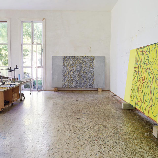 """Happy birthday to Brice Marden, who was born on this day, October 15, in Bronxville, New York!  Marden's upcoming exhibition, """"It reminds me of something, and I don't know what it is.,"""" opens on November 9 at Gagosian, 980 Madison Avenue, New York.  __________ #BriceMarden #Gagosian Brice Marden's studio, Tivoli, New York, 2019. Artwork © 2019 Brice Marden/Artists Rights Society (ARS), New York. Photo: Rob McKeever"""