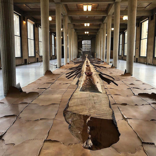"""On the occasion of FIAC 2019, Giuseppe Penone presents """"Matrice di linfa (Matrix of Lymph)"""" (2008) at the Palais d'Iéna in Paris, home to France's Conseil Économique Social et Environnemental. The 141-feet-long tree, stripped of eighty years of ring growth, is now on display through October 24! This is Penone's first exhibition in Paris since 2013. Learn more via the link in our bio. __________ #GiuseppePenone #PalaisdIena #Gagosian @fiacparis #Repost: @isabelle_le3"""