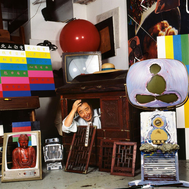 """""""TV will gain many branches . . . picture-phone, telefacsimile, two-way interactive TV for shopping, library research, opinion polling, health consultation, inter-office data transmission, and . . . 1,001 new applications . . . a new nuclear energy in information and society-building, which I would call tentatively 'BROADBAND COMMUNICATION NETWORK'."""" —Nam June Paik, 1974  A major exhibition of work by Nam June Paik opens tomorrow at Tate Modern in London! The show presents more than two hundred works from throughout Paik's five-decade career—from robots made from old TV screens, to his innovative video works, and all-encompassing room-size installations. The exhibition looks at his close collaborations with Joseph Beuys, John Cage, Merce Cunningham, Charlotte Moorman, and others. Find out more via the link in our bio.  __________ #NamJunePaik #TateModern #Tate #Gagosian @tate Nam June Paik in his studio, New York, 1989. Artwork © Estate of Nam June Paik. Photo: Eric Kroll"""