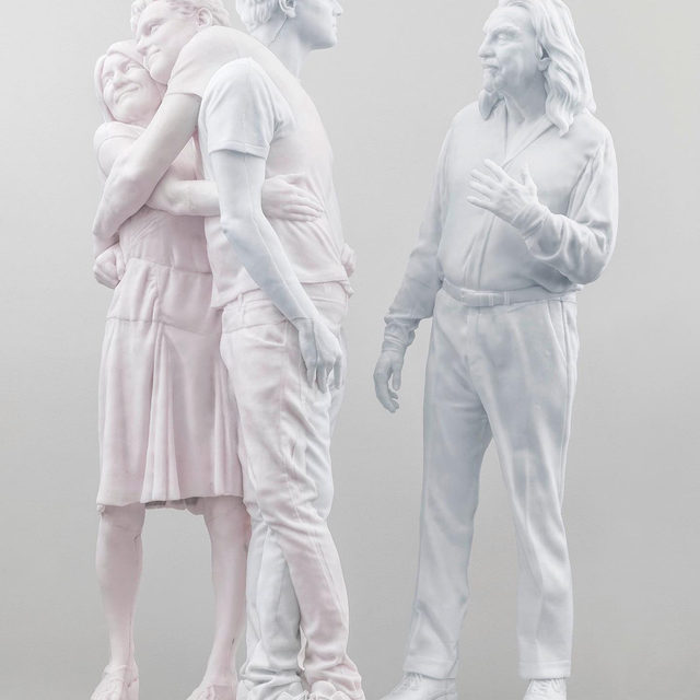 """#UrsFischerLeo: Visit Gagosian, Paris, to see """"Leo,"""" an exhibition of new work by Urs Fischer, now on view!  Fischer's newest candle sculpture, """"Leo (George & Irmelin)"""" (2019), depicts Leonardo DiCaprio with his parents, George DiCaprio and Irmelin Indenbirken. Like all of the artist's candle works, """"Leo (George & Irmelin)"""" will melt slowly over the course of the exhibition, its original composition transmuted into a form dictated by the wayward laws of physics. Learn more via the link in our bio. __________ #UrsFischer #Gagosian #LeonardoDiCaprio @leonardodicaprio Urs Fischer, """"Leo (George & Irmelin)"""" 2019. Artwork © Urs Fischer. Photos: Stefan Altenburger"""