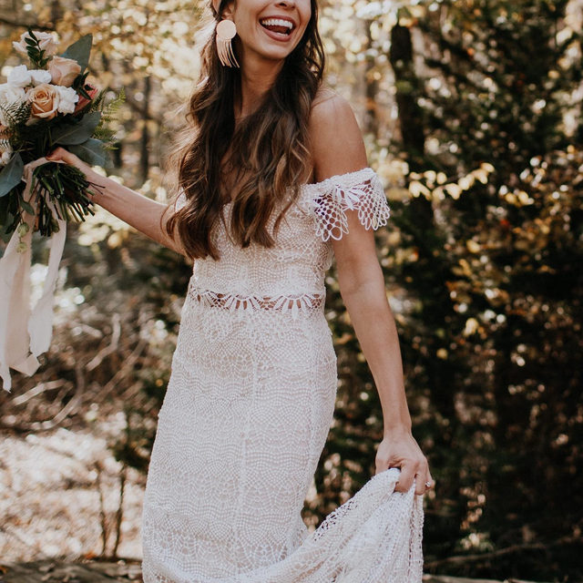 Bohemian spirit meets romantic lace. (Tap to shop the Ophelia Gown | 📷: @brooke.couch 👰:@lc_lately)