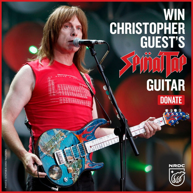 Do you love Spinal Tap and protecting the Earth? 🤘🌎 Duh, of course you do, so do we. So we're psyched to announce that we're partnering with Christopher Guest to give away this signed, one-of-a-kind @Music_Man guitar 🎸 — featuring a thermometer neck that lights up and Al Gore inside a snow globe! All you have to do is make a donation to NRDC of $10 or more by clicking the link in our bio. ⚡️ - #music #guitar #musicman #guitars #spinaltap #rock #christopherguest