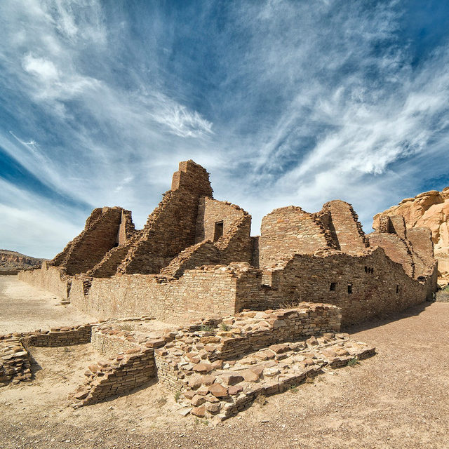 Chaco Culture National Historical Park, in northwestern New Mexico, is a national treasure and sacred to several native communities. 🌄 It's a remarkable landscape with cultural, indigenous, and archaeological significance (not to mention one of the best places in the world for stargazing 🌌!). Now, Congress is now taking up legislation to protect these public lands permanently 👏. Visit the link in our profile for more! [Photo: John Fowler via Flickr] - #newmexico #chaco #chacoculturenationalpark