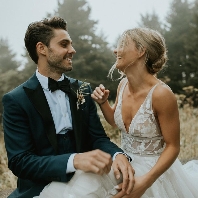 The happiest of moments with your forever love 💕 (Tap to shop the Hearst Gown | #BHLDNBride @allinlovedesign 📷: @ellenandandyy)