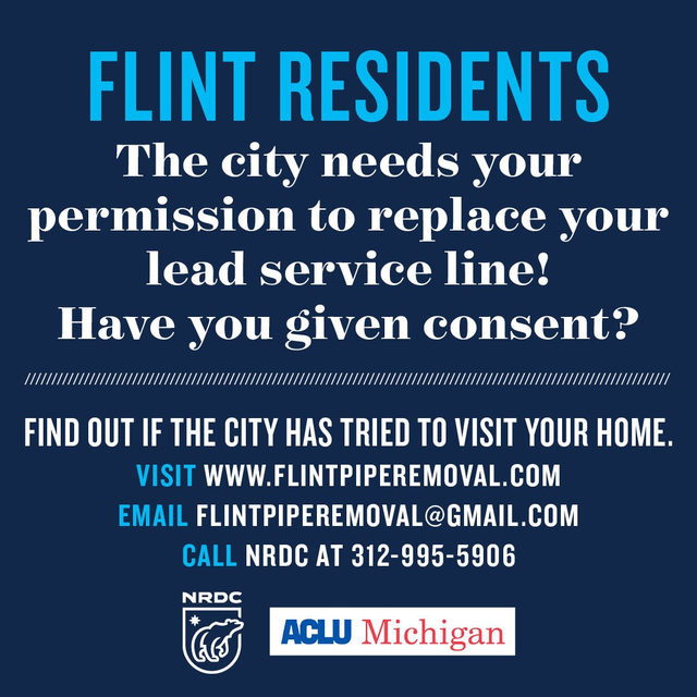 Flint residents, have you given the city of Flint permission to check and replace your water service line? If your service line is made of lead or galvanized steel, the city will replace it with a copper pipe for free. Removing lead or galvanized steel pipes will protect the health of you and your family. *But to get a free service line replacement, you need to give the city permission to inspect your service line ASAP.* Look up your address to make sure the city has your permission to inspect and replace your service line by visiting the link in our bio. #flint #flintwatercrisis #lead #drinkingwater #safedrinkingwater #water #health #publichealth