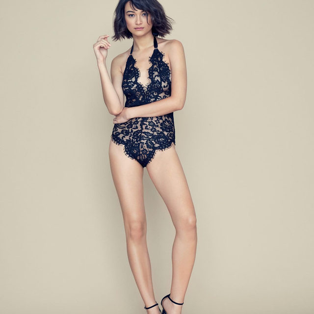 Intricate lace + a chic halter silhouette = one gorgeous bodysuit. #BluebellaforVS @bluebella