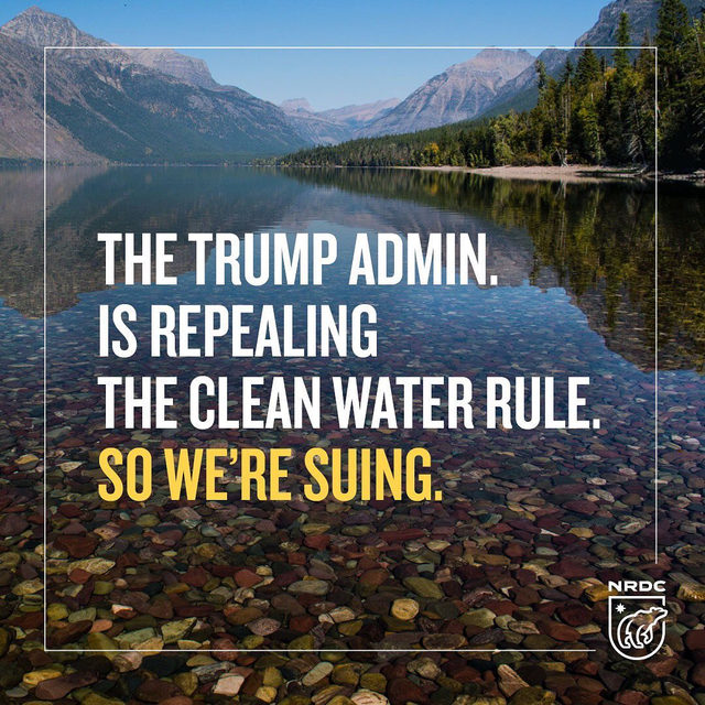 Today, NRDC and our partners challenged the Trump admin.'s effort to strip away crucial clean water protections from rivers, lakes, streams and other waters that feed drinking-water sources for 200 million Americans. 💧 It's just the latest step taken by the Trump admin. to gut our public health protections. 😤 So we're taking them to court. 👊 Visit the link in our profile for more background! - #trump #climate #climatechange #cleanwater #health #resist #nrdc