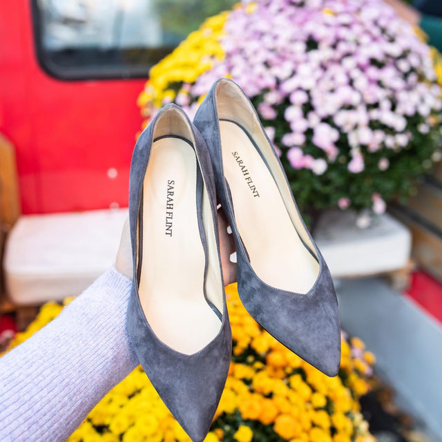 We sourced the perfect grey suede for our Perfect Emma. Who has been waiting for a shoe this color? #walklikeawoman