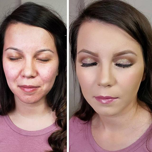 We're loving this before and after glam look by @glam_ros✨💕😍 Wearing our Spackle Primer and Concealer. . . . #lauragellerbeauty #glammakeuplook #motd #beforeandaftermakeup