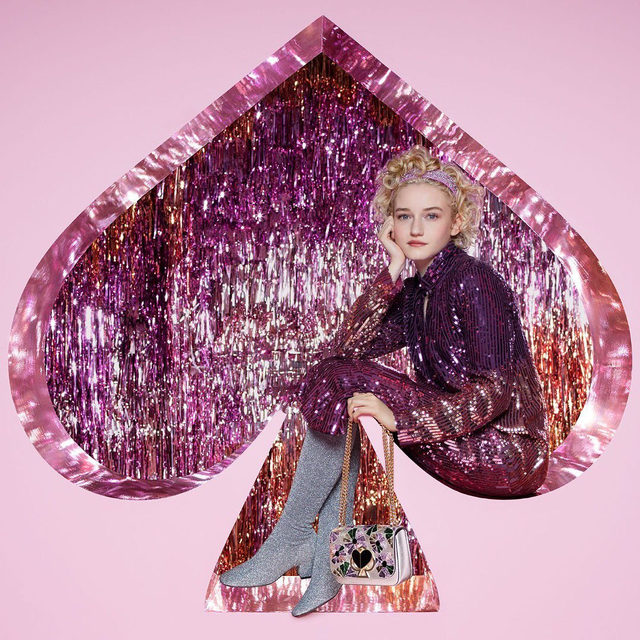 all that glitters is @juliagarner94 in our holiday 2019 campaign. photographed by tim walker. #katespade #loveinspades
