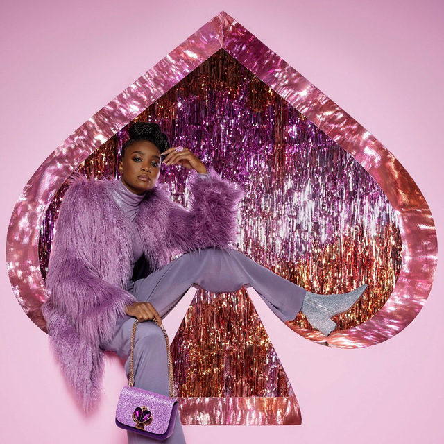 real fierce. faux fur. @kikilayne in our holiday 2019 campaign. photographed by tim walker. #katespade #loveinspades