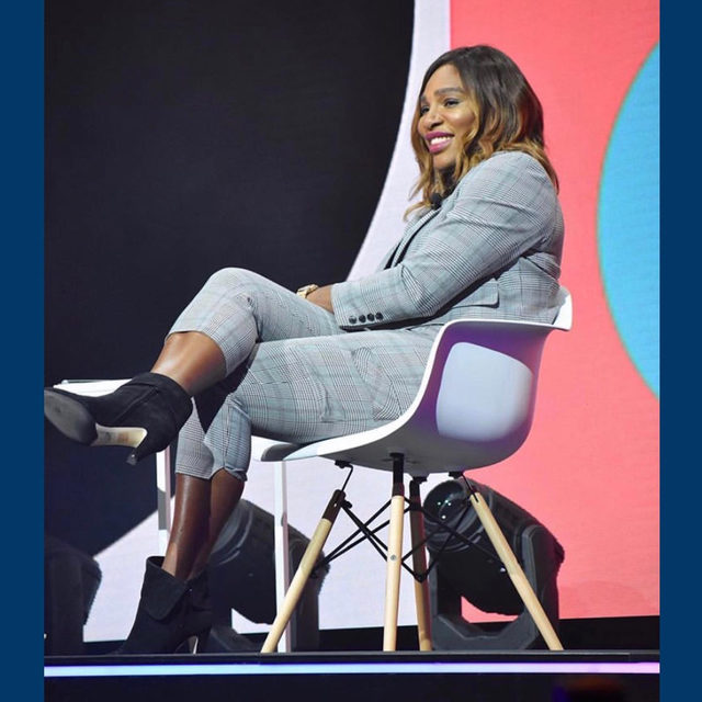 SF office favorite @serenawilliams wearing our Sophia Boot to the @forbes #Under30Summit 💕#walklikeawoman