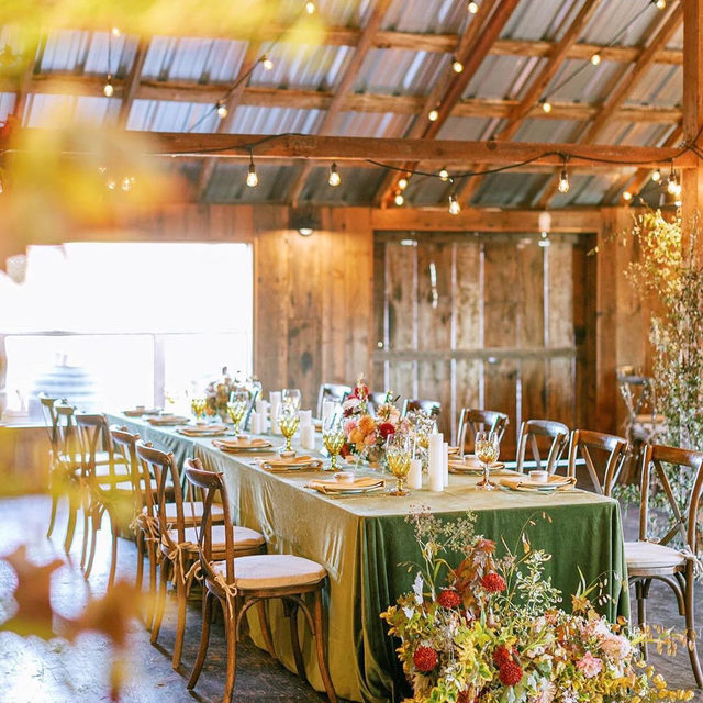 Dreamy fall barn wedding reception with a touch of whimsy 🌾🍁🍂 with our #velvetlinen in Fern and #tuscanylinen napkin in Mustard 💛 Designed by @prim_event_studio | Photo by @oliviarichardsphoto with @natashakolenkodesigns @stemplecreekevents @encoreeventsrentals. #latavolalinen #transformyourtable #fallvibes #linennapkins #stemplecreekevents #northerncaliforniawedding #californiawedding #rustic #rusticwedding #fallwedding #farmwedding #whimsicalflorals #barnreception #weddingreception