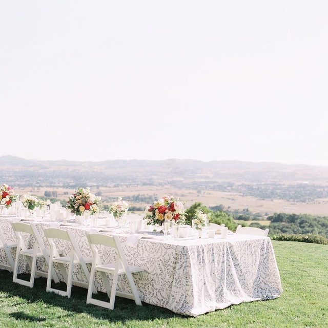 Breathtaking table with a breathtaking view 💚✨🍃 This stunning elopement planned by @saraelizabethweddings in Sonoma featuring our #dylanlinen in Smoke. Film by @courtneydueppengiesser | Florals by @picture.perfect.petals. #latavolalinen #transformyourtable #linen #florallinen #outdoorwedding #weddingwithaview #winecountrywedding #sonomawedding #sonomaparty #elopement #californiawedding