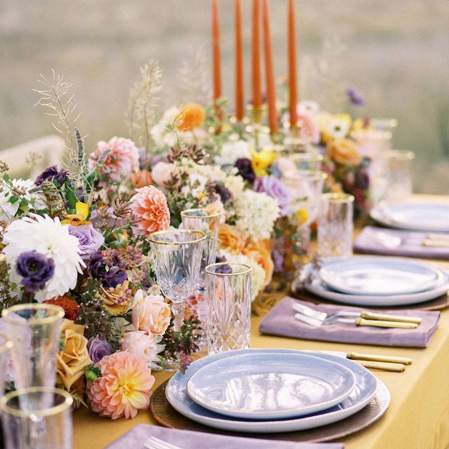 More is more 🙌🏻🧡💜💛 with our #velvetlinen in Tamarind and Rose napkin. This colorful, lush tablescape was beautifully designed by @greenwoodevents and 📷 by @jeremiah_photo for the #themontanaworshop with @orangephotographie @thetop.rentals @westpasturestudio @fostercreekfarm @tailoredandtied @gabriellehurwitz @costarellosbridal @etherealhairmakeup @thestaceyfoley @theblacktux @buttercreamdesign.co @justatastebozeman. #latavolalinen #transformyourtable #livecolorfully #tablescape #bozemanbride #bozemanwedding #montanaweddkng #modernwedding #modernbride #outdoorwedding #weddingreception