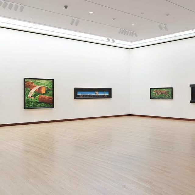 """Happy birthday to Neil Jenney, who was born on this day, November 6, in Torrington, Connecticut!  Jenney's extensive exhibition, """"American Realist,"""" was on display earlier this year at the New Britain Museum of American Art in Connecticut! The show, which traced the evolution of Jenney's career and explored persistent themes in his work, featured more than twenty paintings dating from 1969 to 2016. Follow the link in our bio to learn more. __________ #NeilJenney #NBMAA #Gagosian @nbmaa56 Installation view, """"American Realist,"""" New Britain Museum of American Art, Connecticut, November 2, 2018–March 17, 2019. Artwork © Neil Jenney. Photo: Rob McKeever"""
