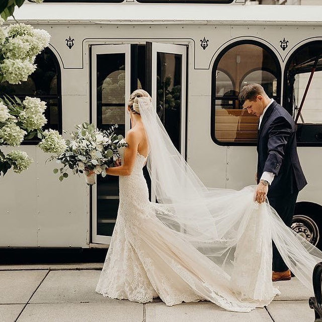 When your Instagram boyfriend becomes your Instagram husband. (Tap to shop the Leigh Gown | 📷: @wearethebillings 👰:@lo_calhoun)