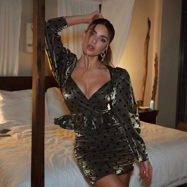 spotted in LA: @negin_mirsalehi in the @lpa ailisa dress 💚 link in bio to shop #REVOLVEawards