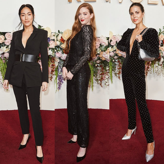 we wear the pants 🖤 @steph_shep @larsenthompson @sophiaxsmith in their chicest, all-black looks #REVOLVEawards