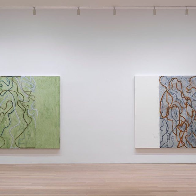 """#BriceMarden: An exhibition of new paintings and drawings by Brice Marden is on view at Gagosian, 980 Madison Avenue, New York, through December 21.  The works on display continue Marden's """"Letter"""" series, in which networks of calligraphic lines and strokes weave through fields of color and tone. Marden begins these paintings by filling the canvas with script-like glyphs, working in columns from top to bottom, right to left. He then links these initial markings through a network of lines, creating webs and threads across the surface of the canvas. As he paints in layers, Marden scrapes away at excess paint on the surface of the canvas, diffusing his lines and allowing a complex play of color, weight, and distance to develop in the pictorial space as he works the canvas deeper into abstraction. Find out more via the link in our bio! __________ #Gagosian Installation views, """"Brice Marden: It reminds me of something, and I don't know what it is.,"""" Gagosian, 980 Madison Avenue, New York, November 9–December 21, 2"""