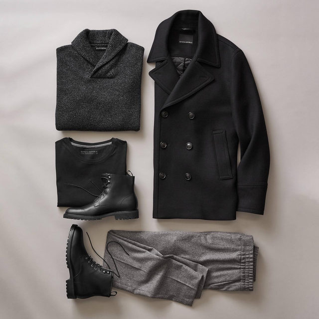Dress up a jogger with a sturdy boot and an Italian Melton peacoat.