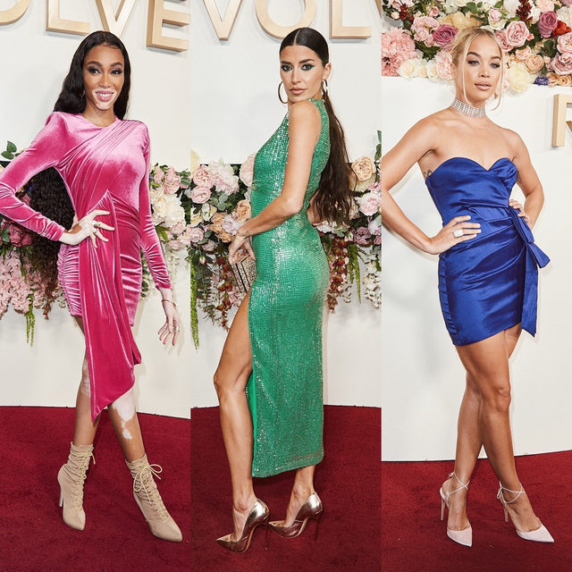 taste the rainbow 🌈@winnieharlow @justtnic @goldenbarbie extra colorful at the #REVOLVEawards - link in bio to shop their looks