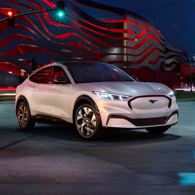 The 2021 Ford Mustang Mach-E is unlike any other Mustang. It's a crossover, and Ford's first mass-production electric vehicle. It packs up to 459 horsepower, 612 lb-ft of torque, range around 300 miles, and a sub-four-second 0-60-mph time. Pricing for the base model starts at $43,895 before incentives, and up to $60,500 for the top-level GT trim. Inside, there's a 15.5-inch portrait-oriented touch screen that controls pretty much everything in the car. Deliveries are scheduled to start in Fall 2020. What do you think?