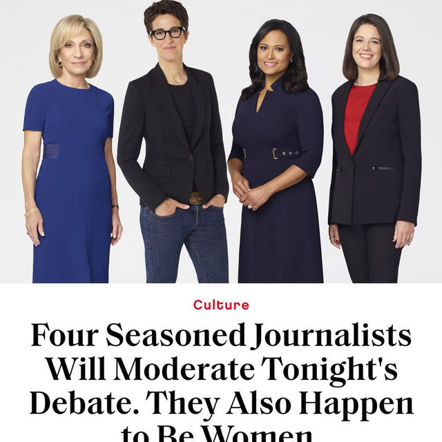 Rachel Maddow, Andrea Mitchell, Ashley Parker, and Kristen Welker will become the third ever (!) all-female moderator lineup. But, if it were up to them, we'd soon lose count—link in bio.