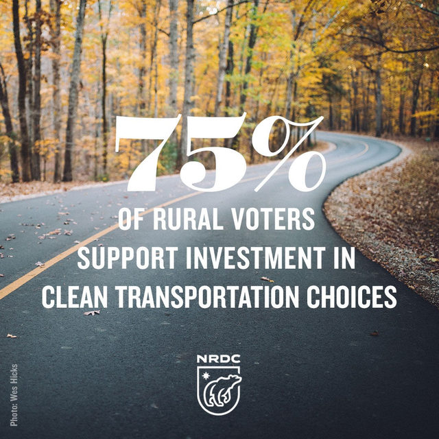Transportation woes are not just traffic jams during rush hour. 🚗🚚🚙The need for more modern options are felt among rural communities, too. According to a recent poll, 75% of rural voters support investment in transportation choices that reduce pollution and incentivize public transportation, infrastructure for electric vehicles, and safe ways for people to walk and bike. 🚶‍♂️🚲Link in bio to learn more! 💚 - Polling done by New Bridge Strategy for @nature_org