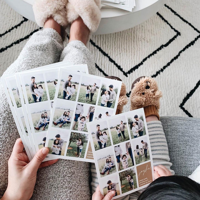"""It's time to get cozy and start those holiday cards. Have you selected your design yet? If you can't make up your mind, let our founder Mariam Naficy help. Shop @mnaficy's picks via the #linkinbio. #MintedHoliday — """"Joyful Moments"""" holiday photo card @sarahicksmalone 