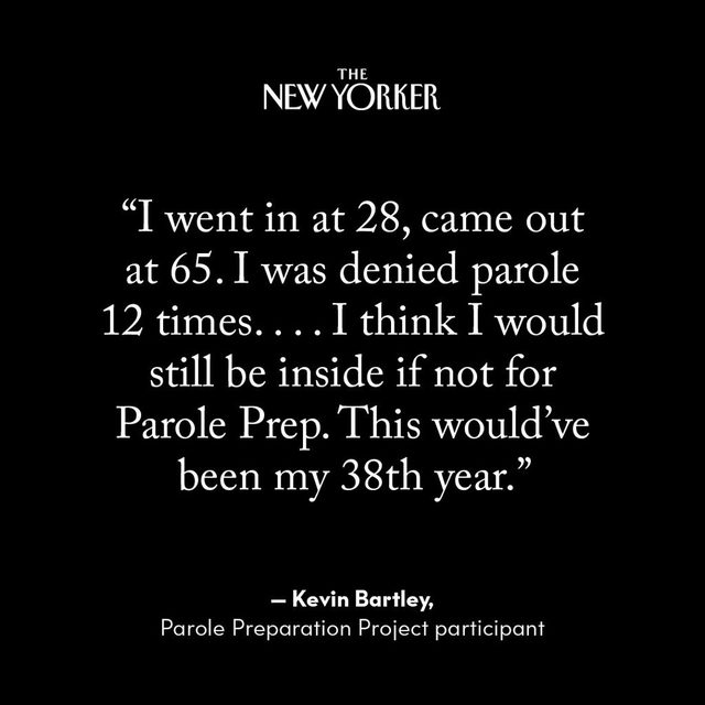 "In the past five years, volunteers for the Parole Preparation Project have helped 149 people get out of prison. The organization works with ""lifers""—individuals who are serving potential life sentences, most of whom have been convicted of murder or other acts of extreme violence—in advance of their parole hearings, where they are expected to speak openly about their crimes, take responsibility for them, and express remorse. At the link in our bio, read about the group of volunteers helping incarcerated people negotiate a system that is all but broken."